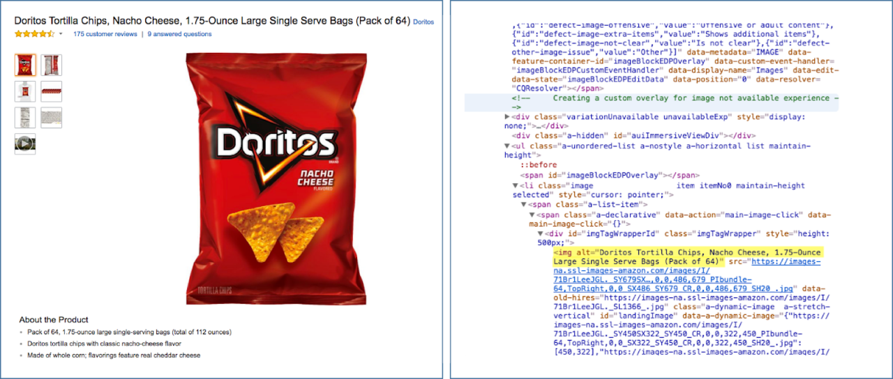 An example of image-alt text in Amazon. Image Credits: moz.com