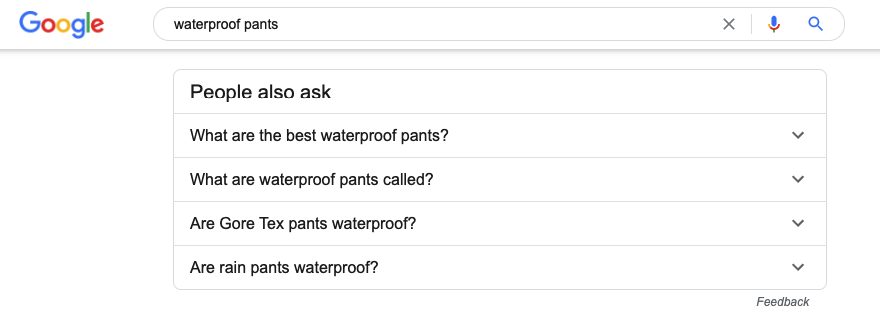 "The ""People also ask"" section of Google search results."