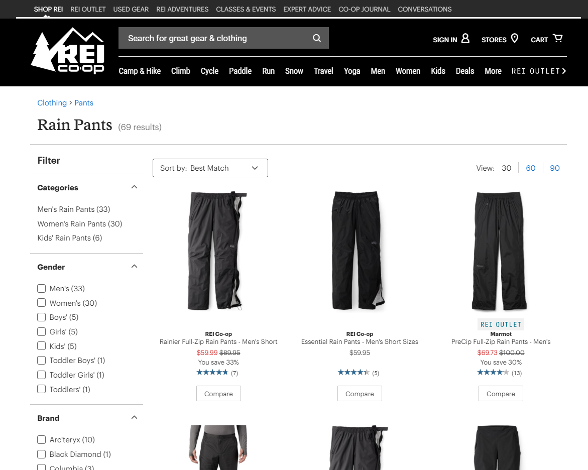 "Results for ""Rain Pants"" on online store REI Co-op."