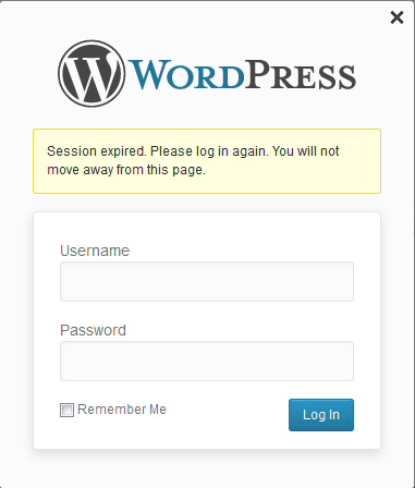 WordPress session expired.